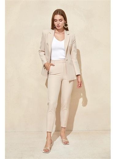 Setre Fuşya Blazer Ceket Pantolon Takım Vizon